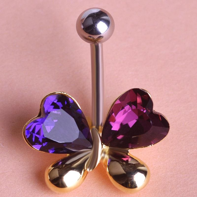 Women Belly Button Ring Violet In 2 Colors Gold Violetta Belly Ring