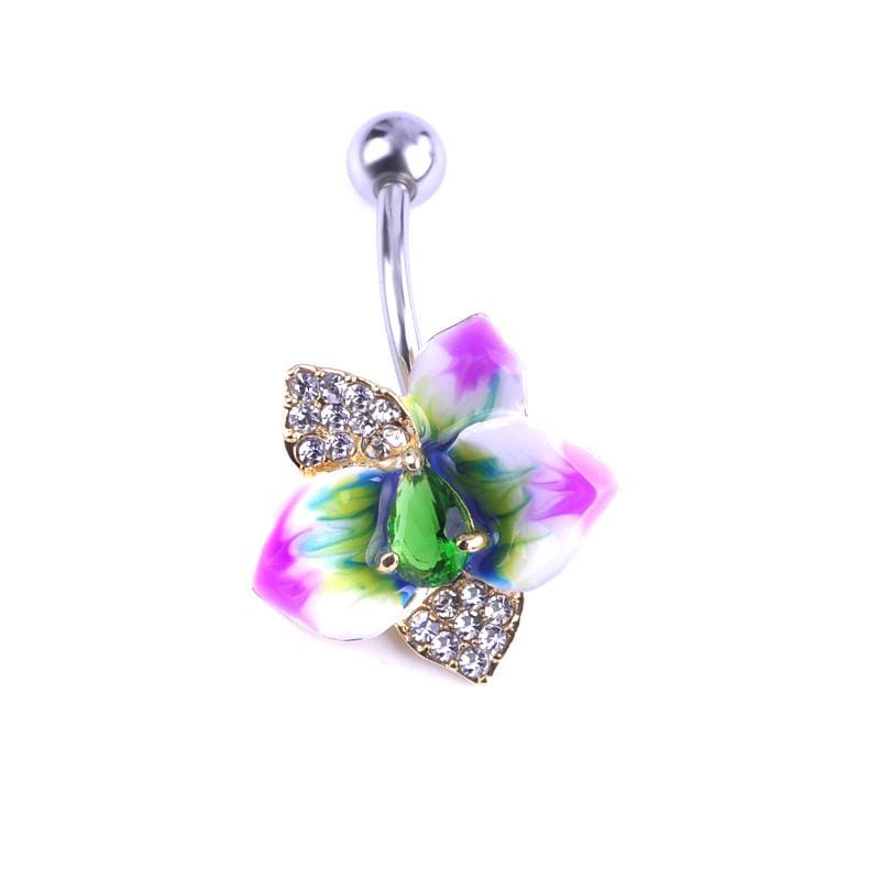 Women Belly Button Violet Flowers Ring In 4 Colors Red Green Belly Ring