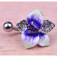 Women Belly Button Violet Flowers Ring In 4 Colors Rhodium Purple Belly Ring