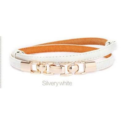 Women Belt Black Stretch Cow Split Leather Gold Waistband 8 Colors Silvery White Belt