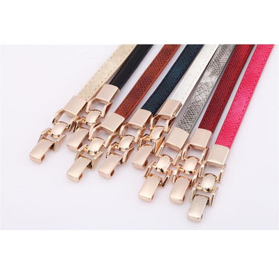Women Belt Black Stretch Cow Split Leather Gold Waistband 8 Colors Belt