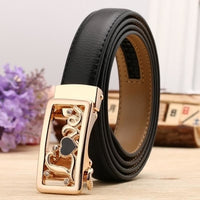 Women Belt Genuine Leather High Quality Reversible Buckle 6 Colors Black Gold / 100Cm Belt