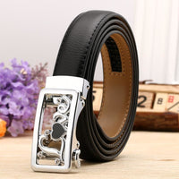 Women Belt Genuine Leather High Quality Reversible Buckle 6 Colors Black Silver / 100Cm Belt