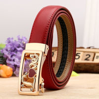 Women Belt Genuine Leather High Quality Reversible Buckle 6 Colors Red Gold / 100Cm Belt