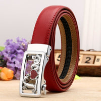 Women Belt Genuine Leather High Quality Reversible Buckle 6 Colors Red Silver / 100Cm Belt