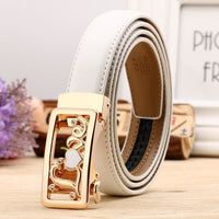 Women Belt Genuine Leather High Quality Reversible Buckle 6 Colors White Gold / 100Cm Belt
