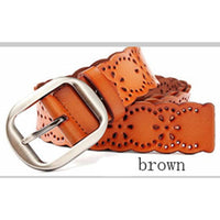Women Belt Genuine Leather Stretch Buckles 5 Colors Brown / 105Cm Belt