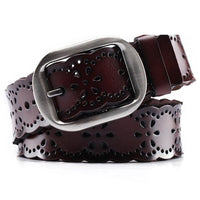 Women Belt Genuine Leather Stretch Buckles 5 Colors Coffee / 105Cm Belt
