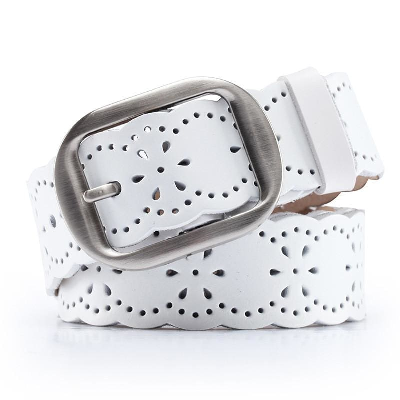 Women Belt Genuine Leather Stretch Buckles 5 Colors White / 105Cm Belt