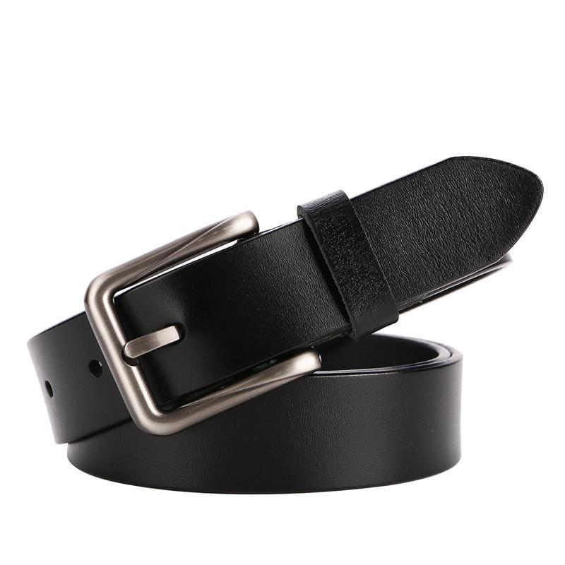 Women Belt Metal Alloy Genuine Cow Leather Large Size Stretch Buckles Waistband 6 Colors Black / 105Cm Belt