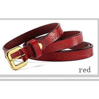 Women Belt Metal Alloy Genuine Leather Stretch Casual Waist Band 8 Colors Red Belt