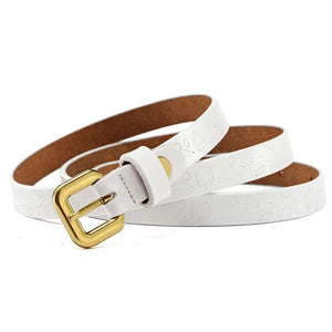 Women Belt Metal Alloy Genuine Leather Stretch Casual Waist Band 8 Colors White Belt