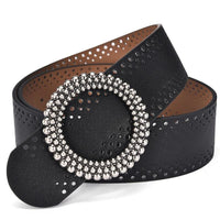 Women Belt Pu Leather Casual Design Classic Style Top Quality Black Stretch Buckles 2 Colors Black Belt
