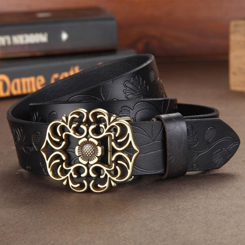 Women Belt Vintage Metal Alloy Genuine Cow Skin Leather Luxury Floral Belt In 5 Colors Black / 100Cm Belt