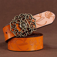 Women Belt Vintage Metal Alloy Genuine Cow Skin Leather Luxury Floral Belt In 5 Colors Brown / 100Cm Belt