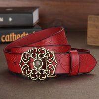 Women Belt Vintage Metal Alloy Genuine Cow Skin Leather Luxury Floral Belt In 5 Colors Red / 100Cm Belt