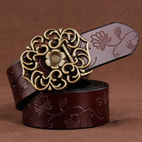 Women Belt Vintage Metal Alloy Genuine Cow Skin Leather Luxury Floral Belt In 5 Colors Belt