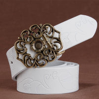 Women Belt Vintage Metal Alloy Genuine Cow Skin Leather Luxury Floral Belt In 5 Colors White / 100Cm Belt