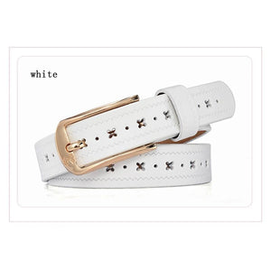 Women Belt Wide Strap Elastic Genuine Leather Stretch Buckles 6 Colors White Belt