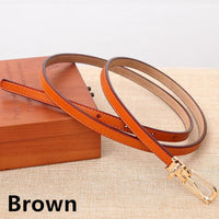 Women Belts 100% Genuine Leather Metal Pin Buckle Vintage Belts In 9 Colors Brown / 105Cm Belt