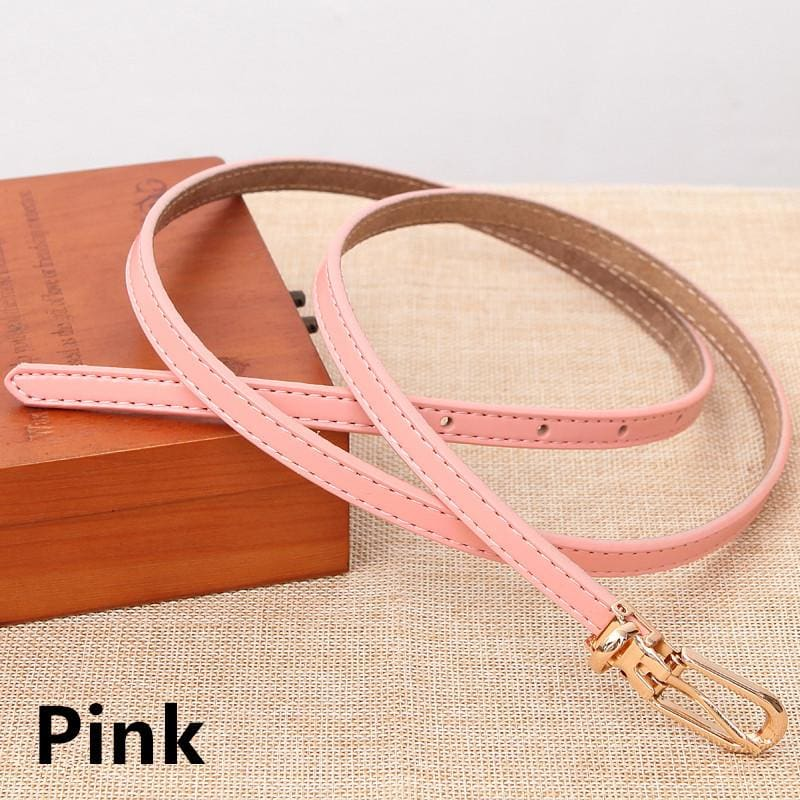 Women Belts 100% Genuine Leather Metal Pin Buckle Vintage Belts In 9 Colors Pink / 105Cm Belt