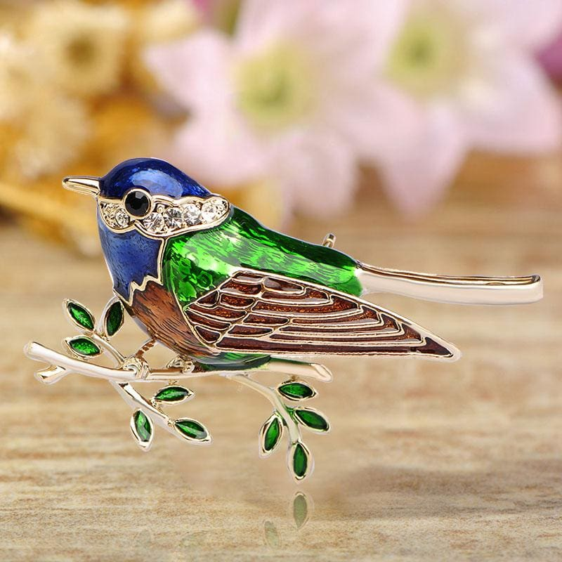 Women Bird Brooch Gold-Color Crystal Accessories In 2 Colors Blue Brooch