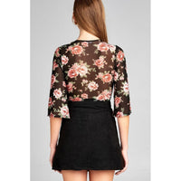 Women Black Crop Top With Floral Print Mesh. Tops