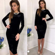 Women Black Dress Velvet Pencil Dress Autumn Winter Elegant Velvet Long Sleeve Dress Black / L Tops Fall