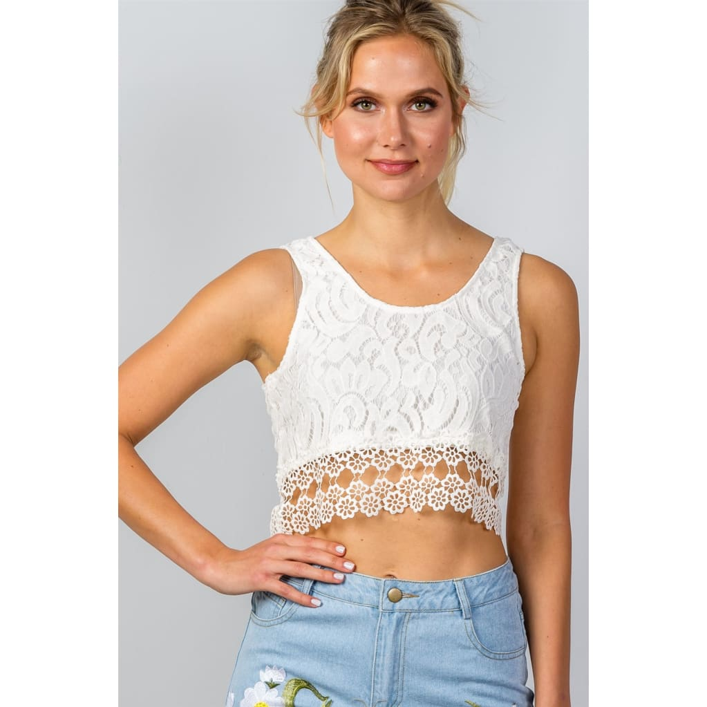 Women Boho Crochet Floral Lace Hem Crop Top Tops