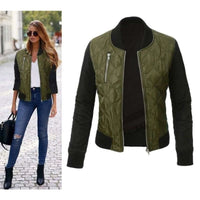 Women Bomber Jacket Autumn Winter Casual Long Sleeve Jacket 3 Colors Army Green / L Fall Sweater