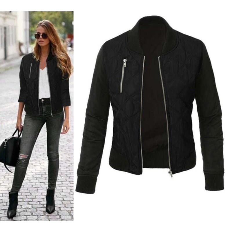 Women Bomber Jacket Autumn Winter Casual Long Sleeve Jacket 3 Colors Black / L Fall Sweater