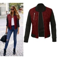 Women Bomber Jacket Autumn Winter Casual Long Sleeve Jacket 3 Colors Red / L Fall Sweater
