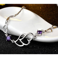 Women Bracelet 925 Sterling Silver Cubic Zirconia Bangle Bracelet 2 Colors Purple Zircon Fine Bracelets