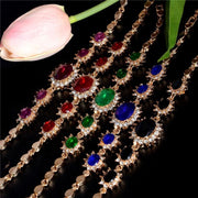 Women Bracelet Alloy Flower Austrian Crystal Cz Zircon 5 Colors Bracelet