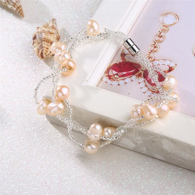 Women Bracelet Alloy Multi-Layer Rice Beads Simulated Pearl Rhinestone Bracelet