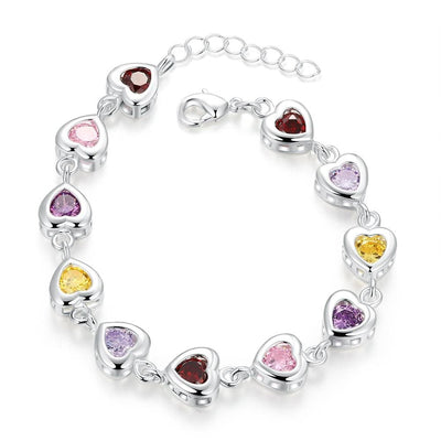 Women Bracelet Best Quality Colorful Cz Heart Design 925 Sterling Silver Fine Bracelets