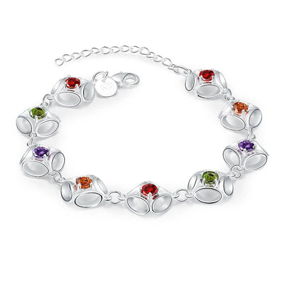 Women Bracelet Exquisite 925 Sterling Silver Multi Color Cz Bangle Fine Bracelets