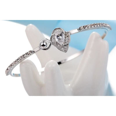 Women Bracelet Leaf Design Shape Luxury Gifts 925 Stamp Silver Fine Bracelets