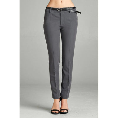 Women Classic Charcoal Grey Pants With Belt Pants
