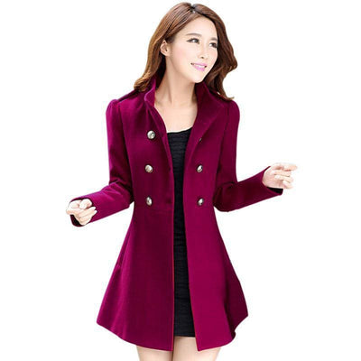 Women Coat Autumn Winter Jackets Warm Cotton Padded Wool Blends In 4 Colors Burgundy / L Fall Sweater