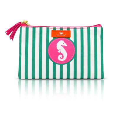 Women Cosmetic Bag Stripe Tassel Clutch Makeup Bag 6 Colors Wallet