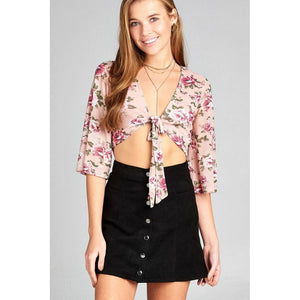 Women Crop Top With Floral Print Mesh. Tops