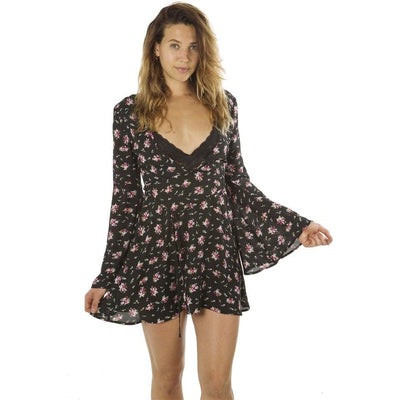 Women Deep V Neck Casual Floral Print Mini Dress Zip Up Flare Sleeve Dresses