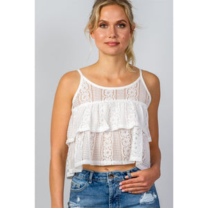 Women Double Layer Cropped Cami Top Tops