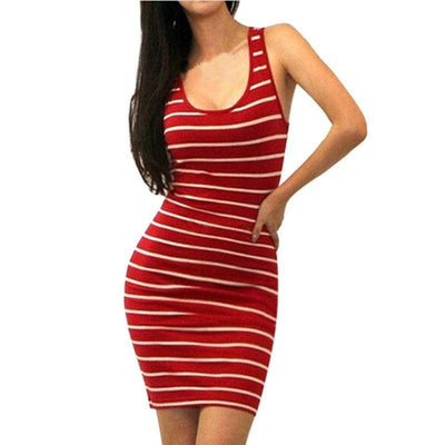 Women Dress Bandage Bodycon Sleeveless Evening Party Short Dress O-Neck Stripe Dress In 2 Colors Red / S Dresses