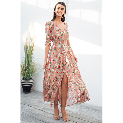 Women Dress Boho Chic Maxi Dress Long In 2 Colors Print2 / S Dresses