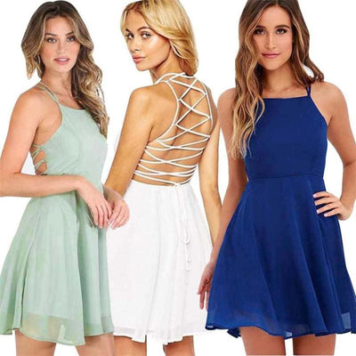 Women Dress Cocktail Backless Bandage Sleeveless O-Neck 5 Colors Dresses