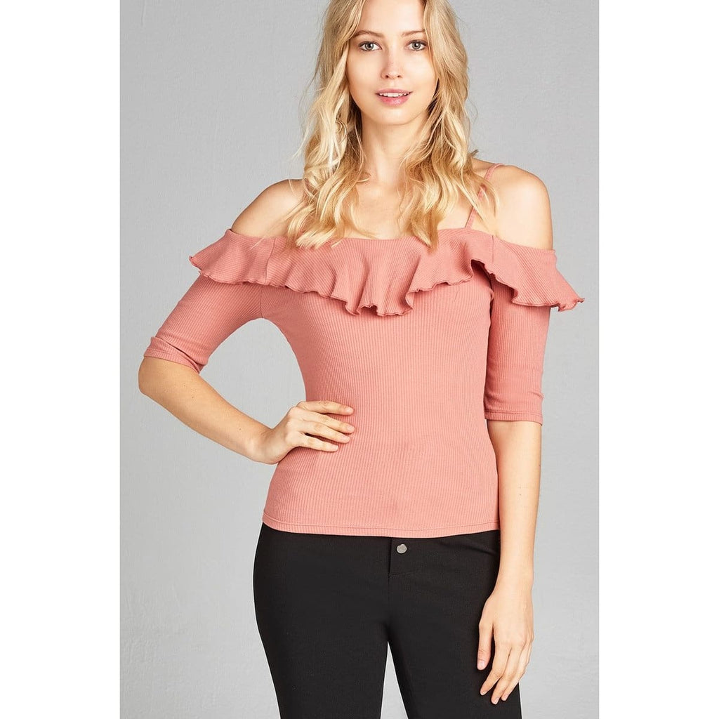 Women Elbow Sleeve Open Shoulder Top Tops