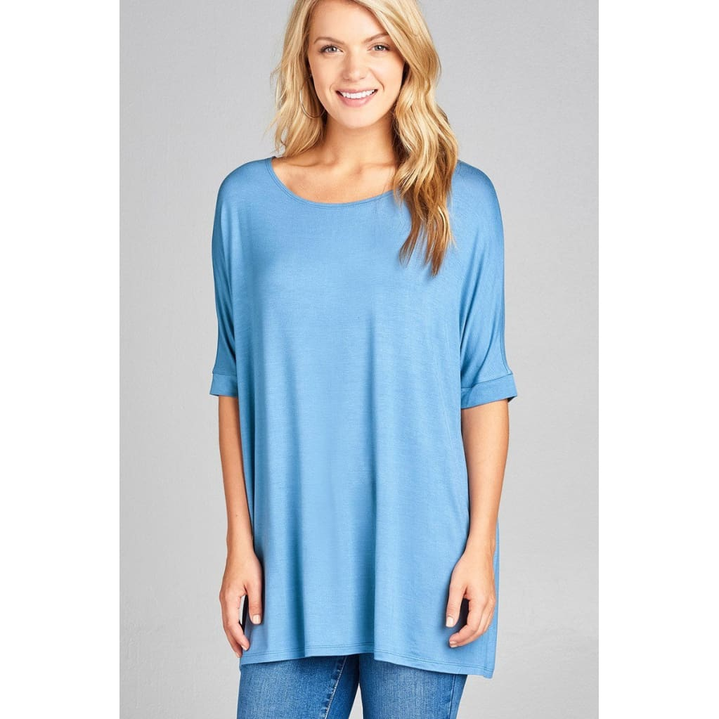 Women Elbow Sleeve Round Neck Jersey Tunic Top Tops