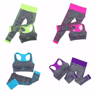 Women Fitness Suit Vest-Style Seamless Bras+ Pants Set 4 Colors Activewear